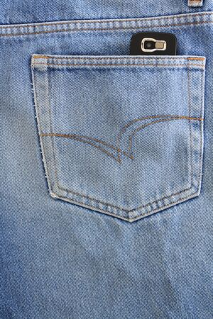 Blue jeans pocket with mobile phone Stock Photo - 8941640