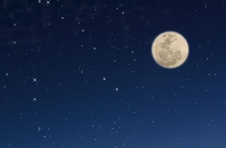 luz de luna: cielo nocturno con Luna