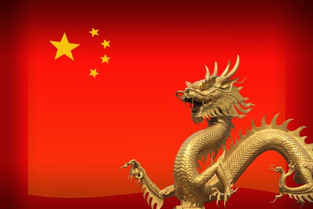 China Flag with golden dragon photo