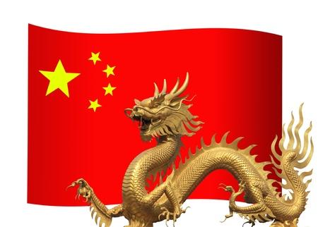 nacional: Bandera de China con el dragón de oro