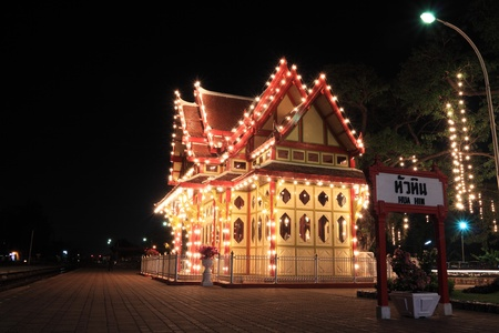 hua hin: night railway station,hua hin thailand Editorial