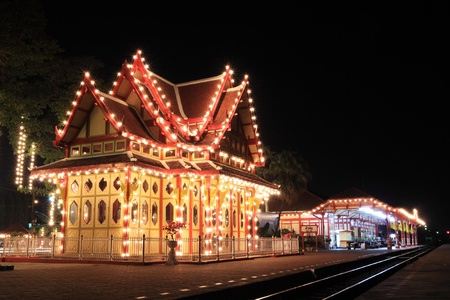 hin: night railway station,hua hin thailand Editorial