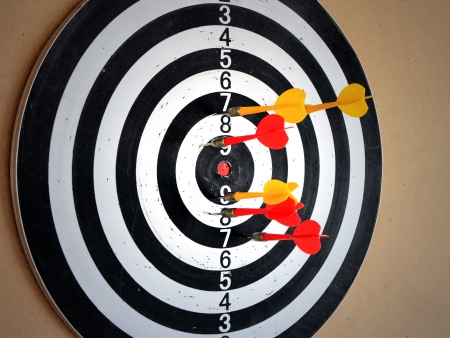 dartboard with darts Stock Photo