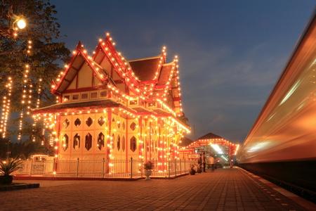 hin: Hua Hin railway station at night,Thailand