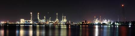 oil refinery industry night panorama photo