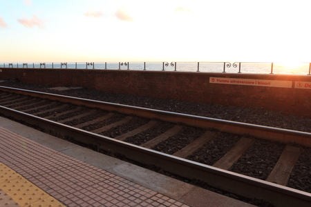 railway track at cinque terre, Italy. Stock Photo - 97141684