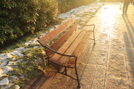 Park bench with sunshine Stock Photo