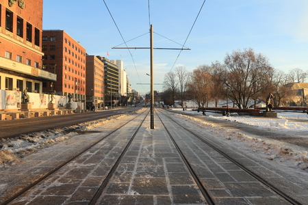 City tram near the city hall of Oslo Norway Editorial