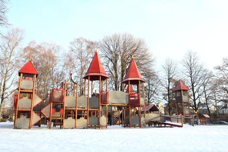 Oslo, Norway - December 30, 2018 : Playground kids in Frogner park.
