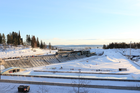 Oslo, Norway - December 30, 2018: Holmenkollbakken of the biathlon stadium located at Holmenkollen in Oslo, Norway. Editorial