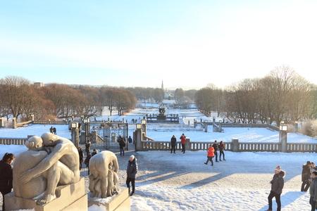 Oslo, Norway - December 30, 2018 : Sculpture created by Gustav Vigeland in Frogner park.