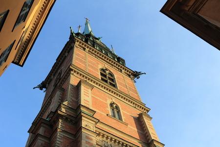 Stockholm, Sweden - December 27, 2018: The German Church in Stockholm old town Gamla stan.