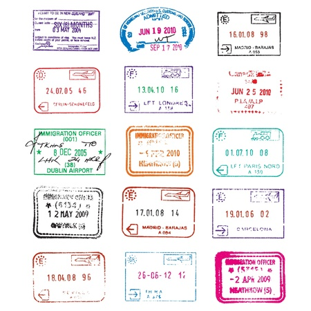 Passport immigration travel stamps