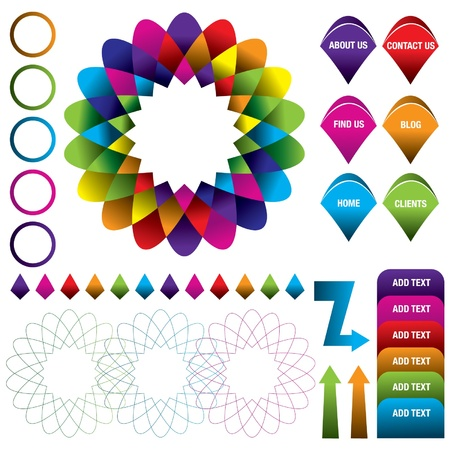 Colorful modern logo and infographic for website or brochure Illustration