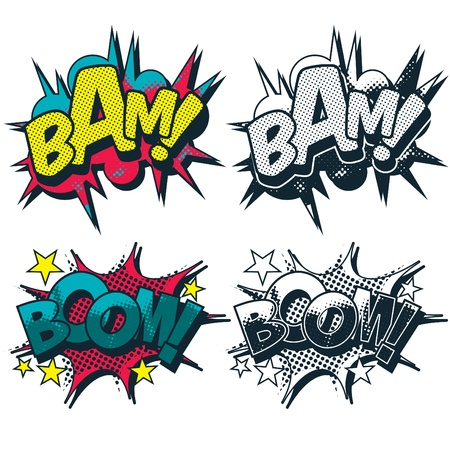 Bam and Boom illustrated comic book style cartoon graphic