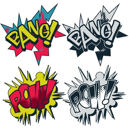 Bang and Pow illustrated comic book style cartoon graphic Vector