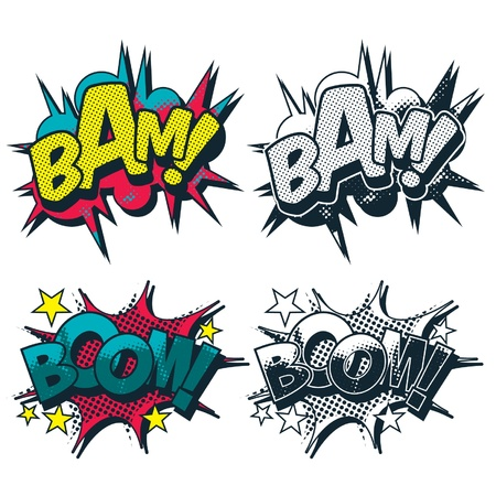 Bam boom vector comic book style burst Illustration