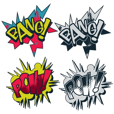 Bang pow vector comic book style burst