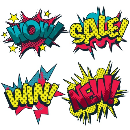 Wow, sale, win and new comic book style graphic Vector