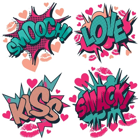 Smooch, love, kiss, smack vector comic book style graphic Illustration