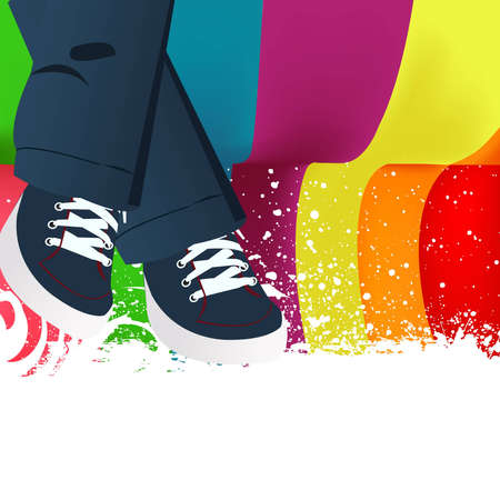 shoe shine: colored Abstract background and lady legs.
