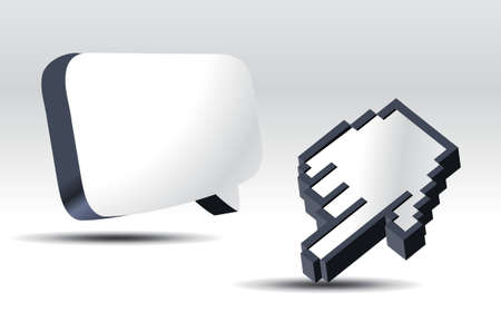 pop up: 3D cursors en pop-up ballon. Stock Illustratie