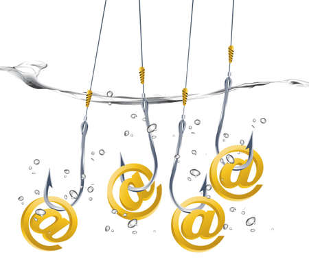 manipulate: on-line fraud concept, hook holding email sign.