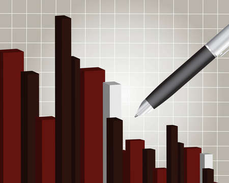 revenue:  Financial chart with a pen, Financial report.