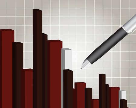 perdidas y ganancias: Gr�fico financiera con un l�piz, el informe financiero.  Vectores