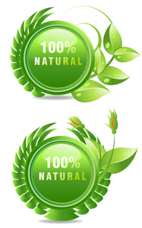 Environmet friendly label, fresh and pure natural products label. Vector