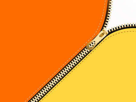 Golden zipper on colored background.