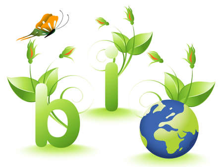 recycling plant:  Bio design and earth. Illustration