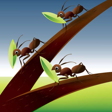 anthill: Team Work Spirit, set of ants working together .