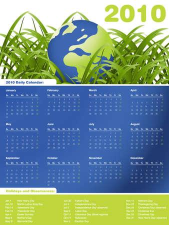 monthly calendar: 2010 Calendar, easy to edit.