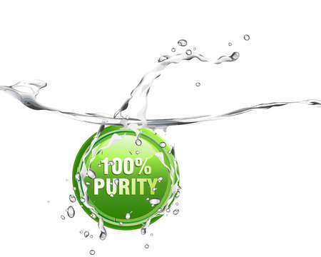 Agua dulce y puro con salpicaduras, ondas y las burbujas  Ilustración de vector