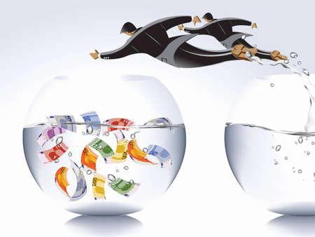 financial freedom: Business concept,  businessman jumping from empty bowl to another with money, catch the moments. Illustration