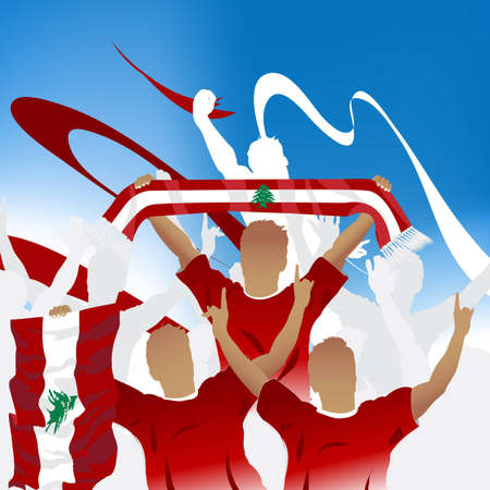 Crowd of soccer fan and three soccer players with scarf and flag. Stock Vector - 7866435