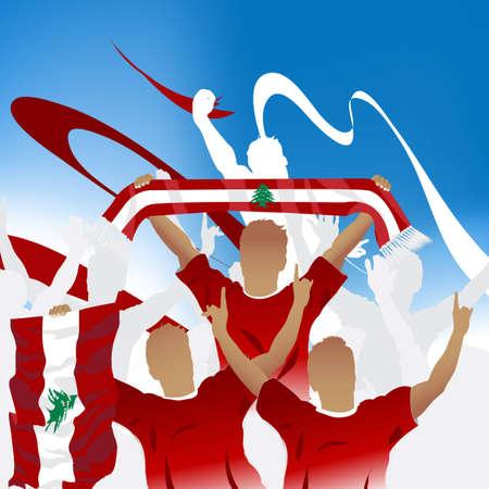 Multitud de fans de fútbol y tres jugadores de fútbol con bufanda y bandera.  Ilustración de vector