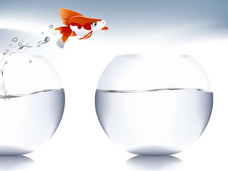 A goldfish jumping out of the water to escape to freedom. Stock Vector - 7866515