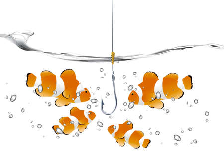 goldfish jump: clown fish looking at empty fishhook .