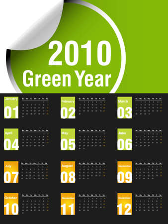 2010 Calendar, easy to edit. Vector