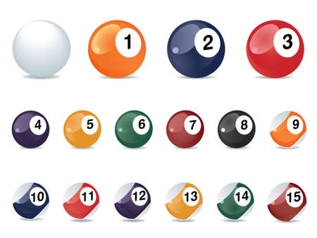 pool balls: Pool game balls against a green felt table