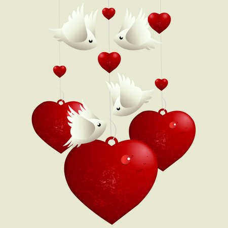 Valentines Day Concept, lovebirds flying around love hearts  Vector
