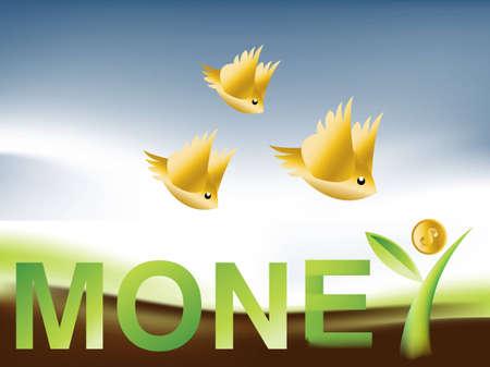 Golden Birds flying around Money Tree . Vector