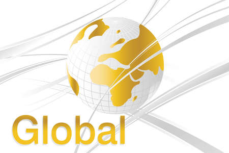 visual art: Abstract and Business Background with globe map and wavy lines.