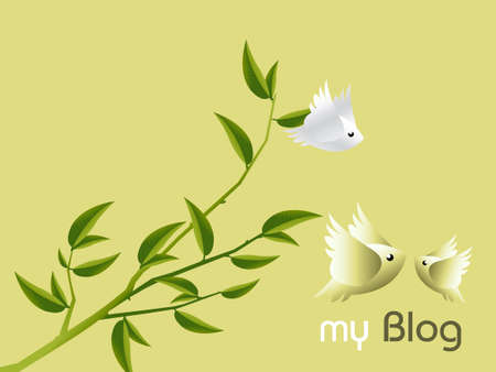 2d wallpaper: Lovebirds Character flying togetherness around twig, cartoon Illustration.