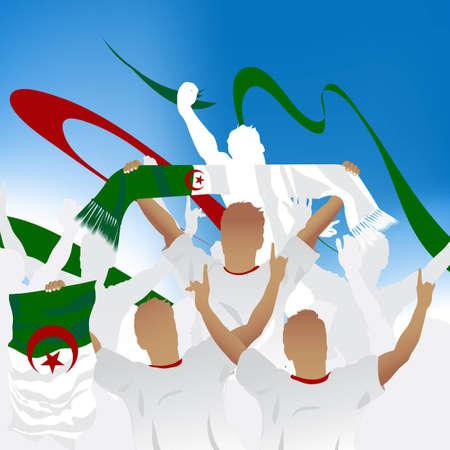 Algierski: Tłum wentylatora Piłka nożna i trzech piłkarze z szalikiem oraz bandery.