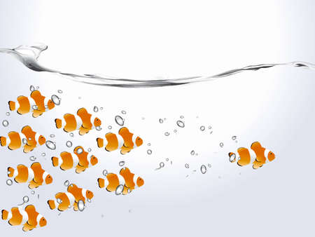 goldfish jump: Group of clown fish