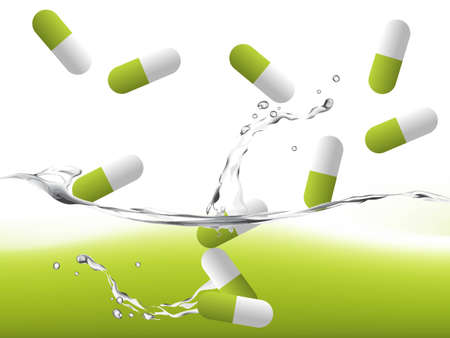 drugs pills: pills on water with splashing effect, medical illustration.