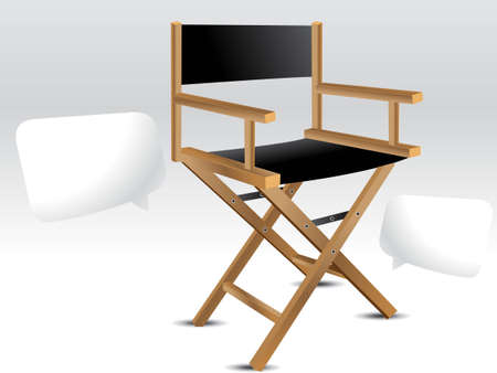 Wooden foldable Director chair . Vector